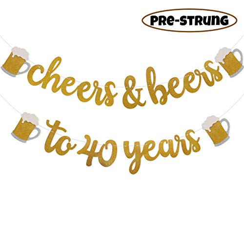 Faisichocalato Cheers & Beers to 40 Years Gold Glitter Banner for 40th Birthday Wedding Anniversary Party Decorations Pre Strung & Ready to Hang, Beer Party Decorations]()