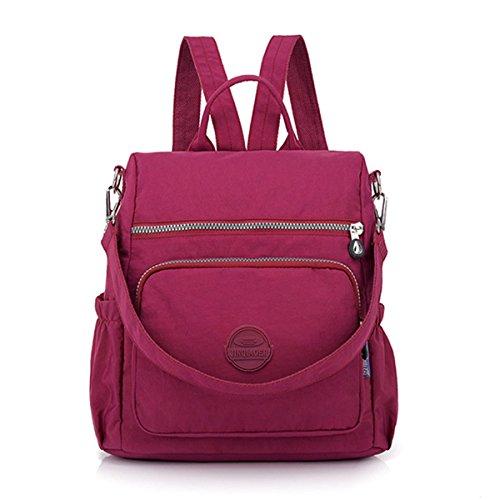 Theft Shoulder Function Bag Waterproof Women Red Anti JOSEKO Backpack Nylon Ladies Casual Multi Wine wHW4vq8RT