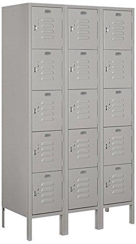 Salsbury Industries 65355GY-U Five Tier Box Style 36-Inch Wide 5-Feet High 15-Inch Deep Unassembled Standard Metal Locker, Gray ()