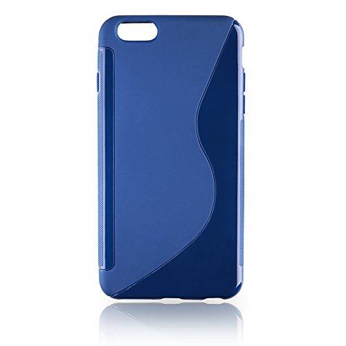 handy-point Gummihülle Schutzhülle Gummi Silikonhülle Schale Silikon Hülle für iPhone 6 Plus 6S Plus in Blau