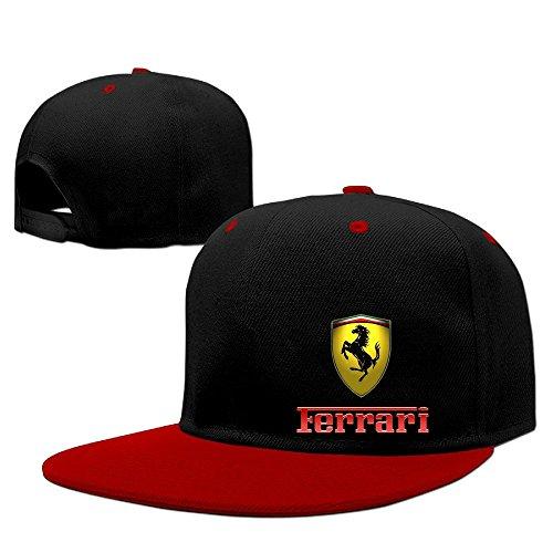 IEEFTA Ferrari Logo Adjustable Snapback Hip-hop Baseball Hat - Red Hats Heavyweight Hat