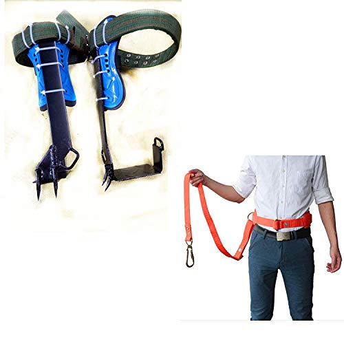 HUAWELL Tree Climber Set Includes Cushioned Pads Tree Climbing Spikes Together Safely Belt Gears Cutting Trees Cement Pole
