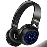 Riwbox WT-8S Bluetooth Headphones, LED Light Up Wireless Headphones Over Ear Hi-Fi Stereo Foldable Wireless/Wired Headsets with Mic and TF-Card Compatible for iPhone ipad Kindle Laptop TV (Black)