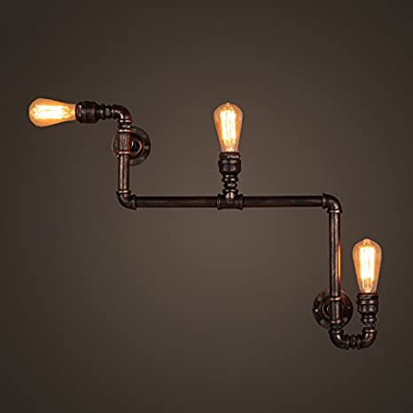 Steampunk Black Steel Conduit Metal Plug In WallTable Lamp Light Fabric Flex Cable E27 Fitting /& Vintage Edison filament Bulb