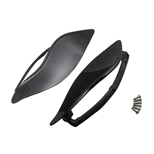 Rebacker ABS Adjustable Air Deflectors Plastic Side Wings Air Deflectors Fairing Side Cover Shield For Harley Touring FL 14-16 (Black)