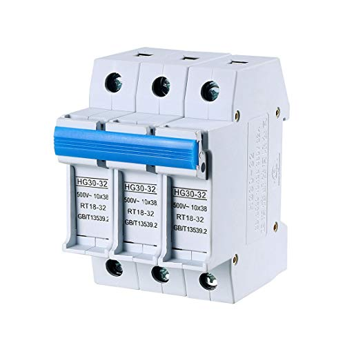 uxcell DIN Rail Mount Fuse Holder 3 Pole HG30-32 10mmx38mm 380V 32A Fuse Included Gray ()