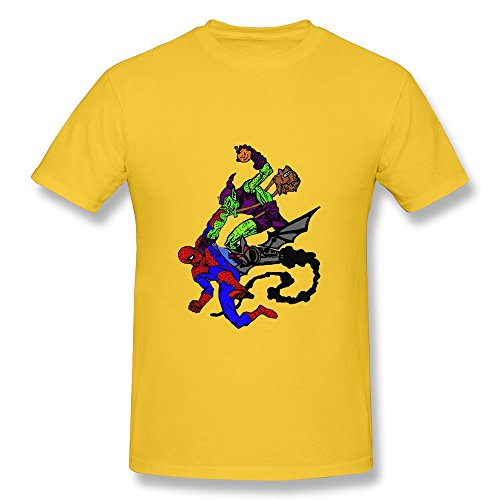 CaiTian Men's Cartoon Green Goblin Vs Spider Man T-Shirt - Funny Tee Shirt Yellow US Size L