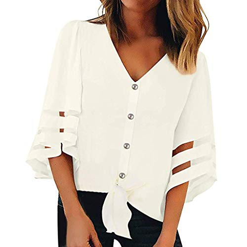 Roshop Womens Button Down 3/4 Bell Sleeve Mesh Panel Casual Shirts Blouses (M, Cream White)