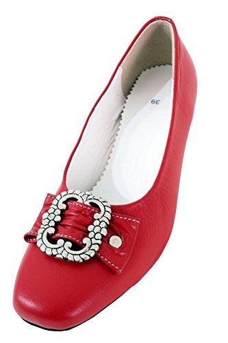 Damen Trachtenschuhe Dirndl Schuhe Trachten Pumps - Echtes Rindnappaleder Premium, Rot, Gr.38