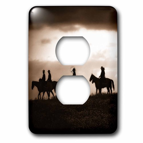 3dRose lsp/_150164/_6 Sepia Toned Cowboy Silhouettes on Horseback 2 Plug Outlet Cover