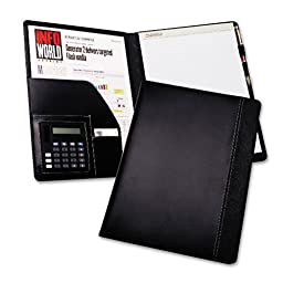 Samsill : Pad Holder w/Calculator, Leather-Look/Faux Reptile Trim, Writing Pad, Black -:- Sold as 2 Packs of - 1 - / - Total of 2 Each