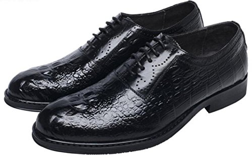 Moda Scarpe da Uomo in Pelle Abiti da Uomo Pizzi Scarpe Eleganti Scarpe Singole Black