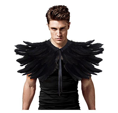 L'vow Men' Gothic Natural Feather Shrug Shawl Cape Stole Collar Halloween Costumes (Black)