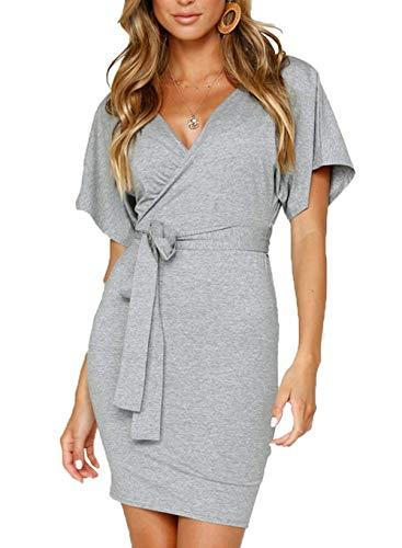 PRETTYGARDEN Women's Casual Wrap V Neck Backless Short Sleeve Bodycon Pencil Mini Dresses with Belt