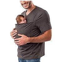 Kangaroo Dad Men's T-shirt Short-Sleeved Stretchy Infant Sling Baby Carrier Shirt 2 In 1 Big Pocket (Color : Grey, Size…
