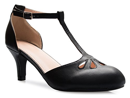 - OLIVIA K Women's Kitten Low Heels T-Strap Pumps - Adorable Vintage Retro Shoes with T Strap - Unique Upper Cut Out Design