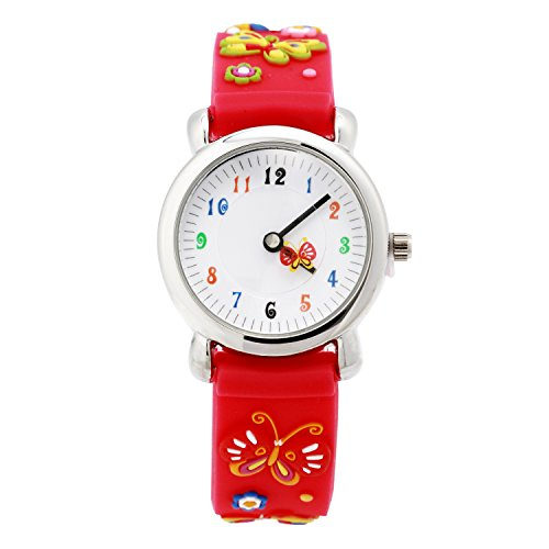 ELEOPTION 3D Cute Cartoon Quartz Watch Stainless Steel Wristwatches with Silicone Band Time Teacher for Little Girls Boy Kids Children Gift (Red (Armitron Stainless Steel Bands)