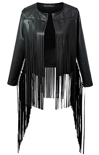 Cameinic Women's Long-sleeved Cardigan Slim Chest Fringed Leather Jacket