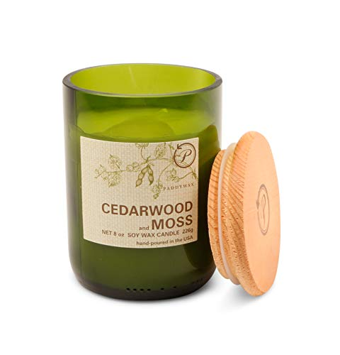 Paddywax Candles Eco Collection Soy Wax Blend Candle in Glass Jar, Medium- 8 Ounce, Cedarwood & Moss