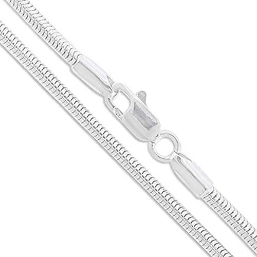 Verona Jewelers Sterling Silver 2MM, 2.5MM, 3MM, 4MM, 5MM Solid Round Snake Chain Necklace- Flexible Snake Chain Necklace, Round 925 Sterling Silver Necklace (24, 4MM)