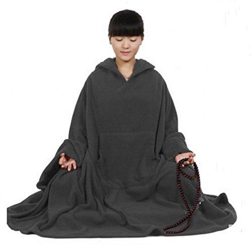 Katuo Meditation Buddhist Hooded Cloak Coat Women Men Outfit Oversize Coat (L, Grey) -
