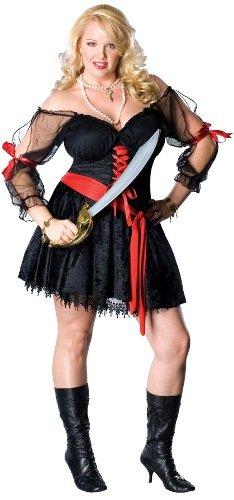 Secret Wishes Women's Pirate Siren Plus Size Costume, Black/Red, Plus