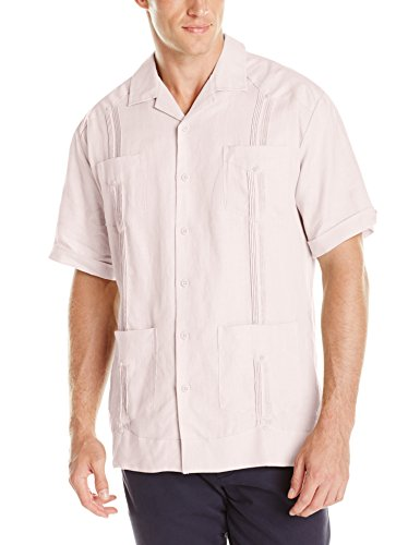 (Cubavera Men's Short Sleeve 100% Linen Guayabera, Pink Dogwood, Medium)