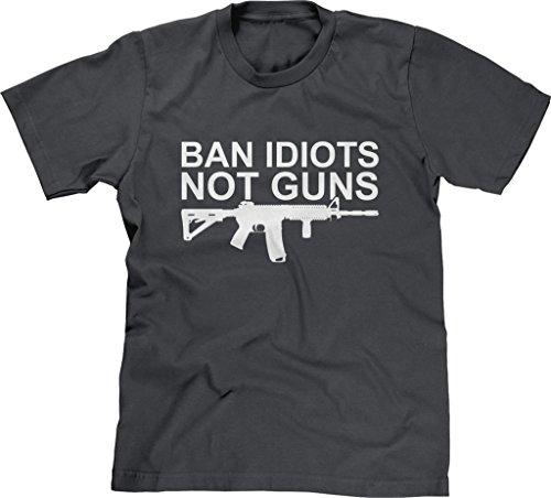 Blittzen Mens T-shirt Ban Idiots Not Guns, XL, (Gun T-shirt)
