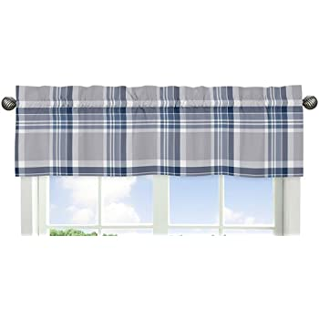 linen patterned drapes plaid bay valance blue and print white blend curtains window navy cotton