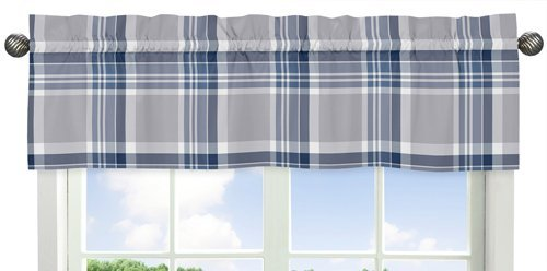 Sweet Jojo Designs Navy Blue and Gray Plaid Collection Window Valance
