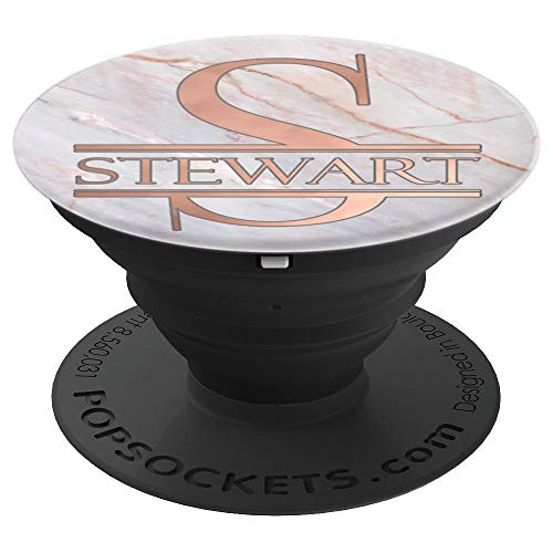 (Stewart Monogram Rose Pink on White PAAM151 - PopSockets Grip and Stand for Phones and Tablets)