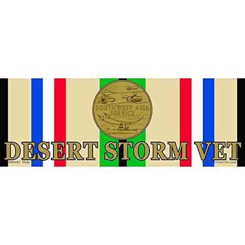 Desert Storm Veteran Ribbon & Medal Bumper Sticker 3-1/4