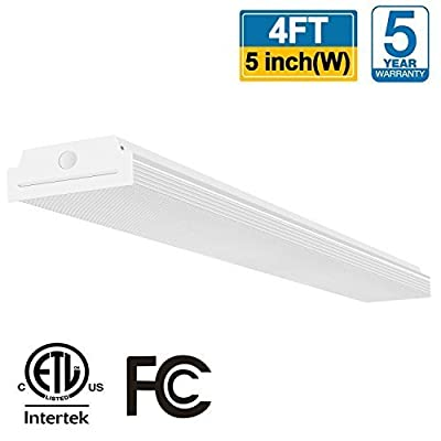 FaithSail 4FT LED Wraparound 40W 4 Foot LED Shop Lights for Garage, 4400lm 4000K Neutral White, Wrap Light, 48 Inch LED Light Fixtures Flush Mount Office Ceiling Lighting, Fluorescent Tube Replacement
