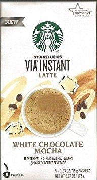 Starbucks Via Instant Latte White Chocolate Mocha (1 Box 5 1.23 Oz Packs)