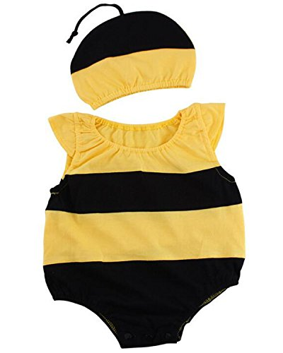 Kidsform Baby Unisex Bodysuit Animal Costume for Boys Girls Cartoon Short Sleeve Onesie with Hat bee 3-6M
