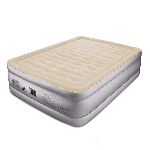 BFULL Air Mattress Thicken Inflatable No Leakage Airbed Portable Air Mattress with Built-in Electric Pump,Durable,Easy to Store and Install,80x60x18in,air Mattress Queen Size,Beige White