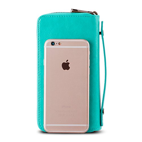 Double Phone Purse Wallet Card for with Long Coin Clutch and Smart Card Zipper Pocket Coin XeYOU Green Around Holder Cash dwF1dU