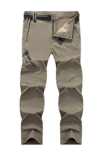 Mr.Stream Men's Sports Fitness Breathable Quick Drying Outdoor Running Stretch Pants 5X-Large Khaki by Mr.Stream
