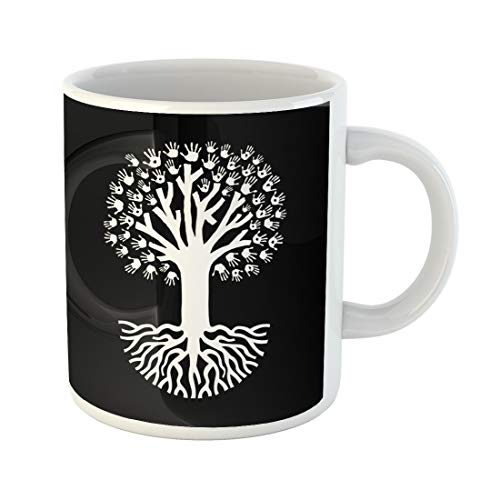 Emvency Funny Coffee Mug Over Black Tree Made of Diverse Hand with Big Roots Community Help Teamwork 11 Oz Ceramic Coffee Mug Tea Cup Best Gift Or Souvenir