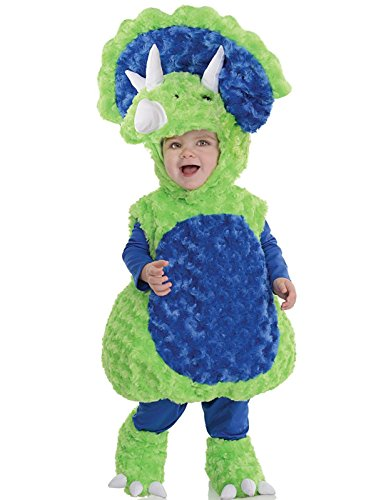 Underwraps Toddler's Triceratops Belly Babies Costume, Green/Blue, Extra