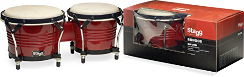 Stagg BW-200-CH 7.5-Inch & 6.5-Inch Latin Wood Bongos - Wild Cherry by Stagg