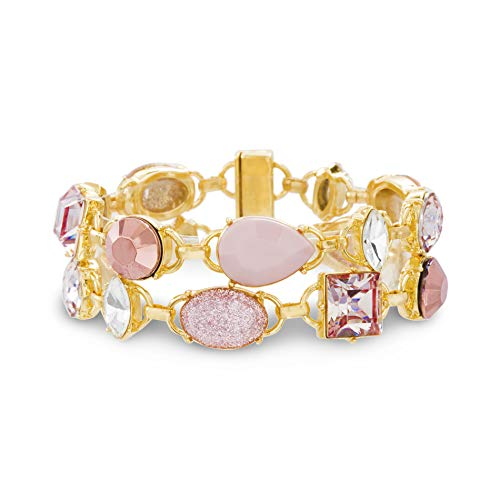 Catherine Malandrino Multicolor Rhinestone 2-Row Link Yellow Gold -Tone Bracelet for Women (Light Pink/White)
