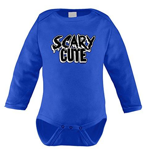 Scary Cute - Halloween Long Sleeve Bodysuit (NEWBORN, ROYAL BLUE) (Scary Halloween Pumkins)