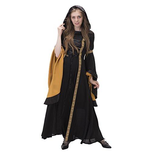 1791's lady Meadieval/Renaissance Hooded Costume Dress NQ0026-1-XXL Black