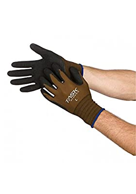 Task Gloves Brown Latex Palm Coated Seamless Nylon String Knit Work Gloves - 1 Dozen/Pack - S-XXL