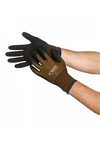 Task Gloves ( 1 Dz) Brown Latex Palm Coated Seamless Nylon String Knit Work Gloves - Large (Coated Gloves Work Palm)