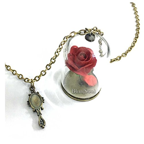 Beast Belle Costume Necklace Jewelry - Beauty Necklace Belle Rose -