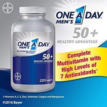 (One A Day Men's 50 Plus Advantage Multi-Vitamins, 2pack of 220tablets each)