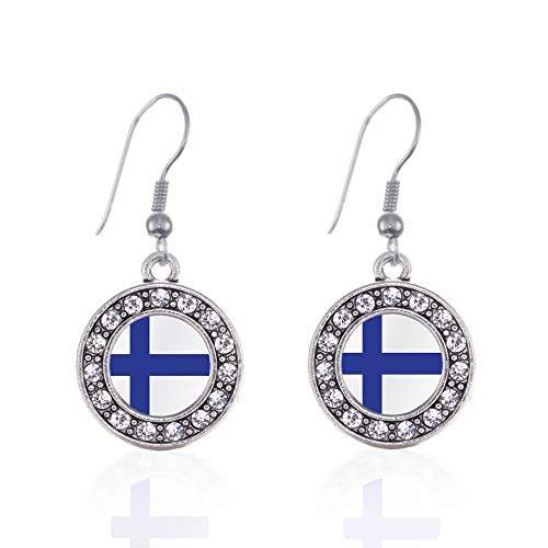 (Inspired Silver - Finland Flag Charm Earrings for Women - Silver Circle Charm French Hook Drop Earrings with Cubic Zirconia Jewelry)
