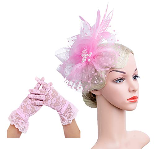 (Flower Cocktail Tea Party Headwear Feather Fascinators Top Hat for Girls and Women(1-Pink)